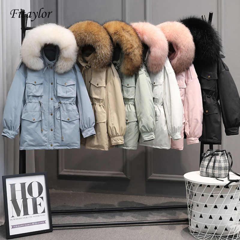 Fitaylor חורף מעילי נשים לבן ברווז למטה גדול טבעי דביבון פרווה מעיל סלעית מעיילי נקבה אבנט לקשור שלג להאריך ימים יותר
