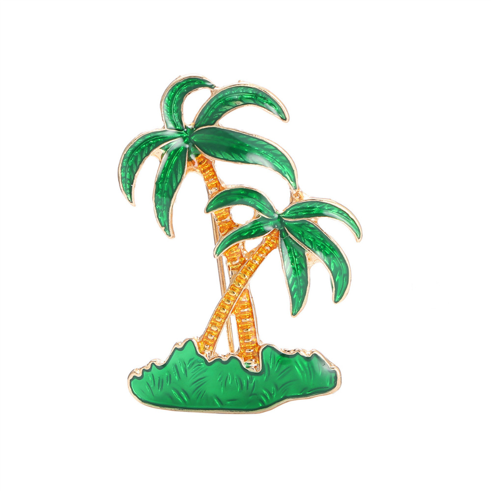 DoreenBeads 4.5cm Safety Pin Plant Brooch for Men Women Green Enamel Coconut Tree Pins Brooches for T-shirt Sweater Coat Scarf