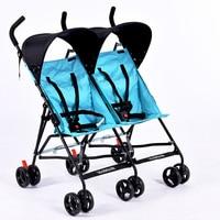 2017 Nieuwe ontwerp baby dubbele zetels kinderwagen ultralichte draagbare auto paraplu vouwen kind tweeling trolley goedkope prijs poussette