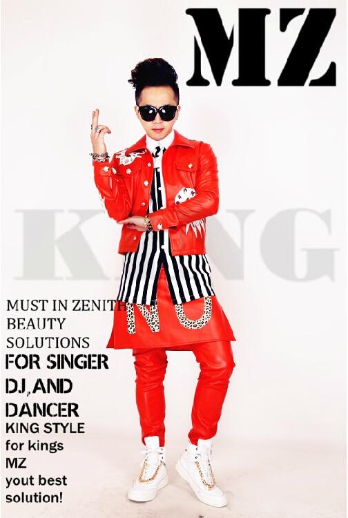 Peut être costomized! hommes DJ discothèque chanteur invités 2 PM juin. k Grand Rouge Diamant décoratif veste manteau plus la taille costumes vêtements