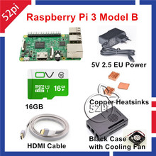 2016 новинка Рашпиль B Erry Pi 3 Модель B Starter Kit с ЕС/США/AU/UK Мощность + чехол + вентилятор охлаждения + 16 ГБ SD Card + HDMI + медные радиаторы