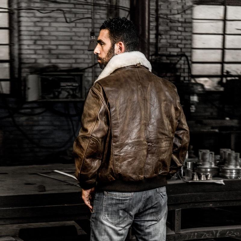 HTB16Ae1FrSYBuNjSspfq6AZCpXaQ AVIREX FLY 2018 Genuine Leather jacket Men Bomber Jacket Fur Collar Cowskin Short Air Force Flight Jacke Vintage Winter Coat