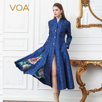 VOA Silk Jacquard Brocade Pearl Clasp Trench Coat Women Plus Size 5XL Slim Tunic Outerwear Blue Floral Print Long Sleeve F107