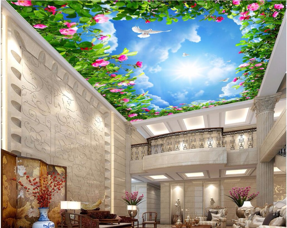 Custom photo 3d wallpaper ceiling mural Blue sky and white clouds Flower vine painting 3d wall murals wallpaper for walls 3 d brooklyn black and white wallpaper mural photo wallpaper 3d mural large wall painting mural backdrop stereoscopic wallpaper