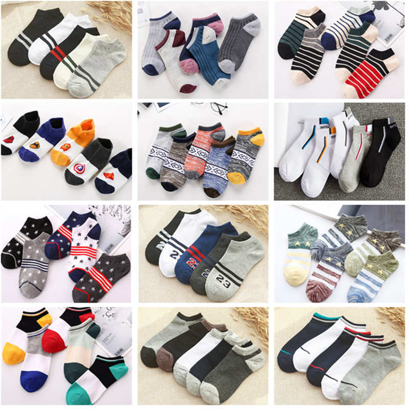 Jeseca 5 Pairs/Lot Men's Boat Socks Cotton Soft Business Male No Show Socks Spring Summer Breathable Invisible Sock Slippers Sox