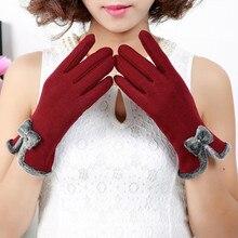 Новые Теплые бархатные кашемировые перчатки с бантиком для девочек на осень и зиму, женские хлопковые перчатки с сенсорным экраном, шитые варежки