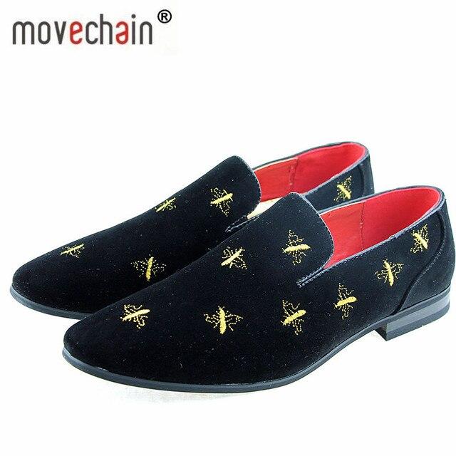 Movechain Mode Hommes de Casual Broderie Mocassins Hommes En Cuir Suédé Chaussures  Mocassins Oxford Homme De ab7e62a502f