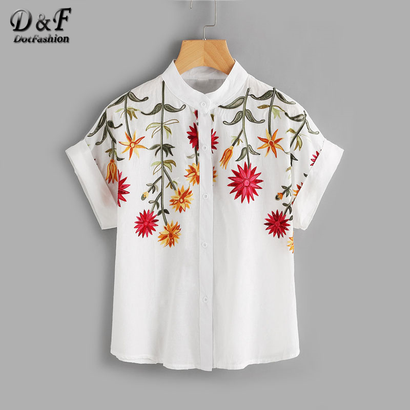 Dotfashion Floral Embroidered Roll Up Cuff Blouse Summer