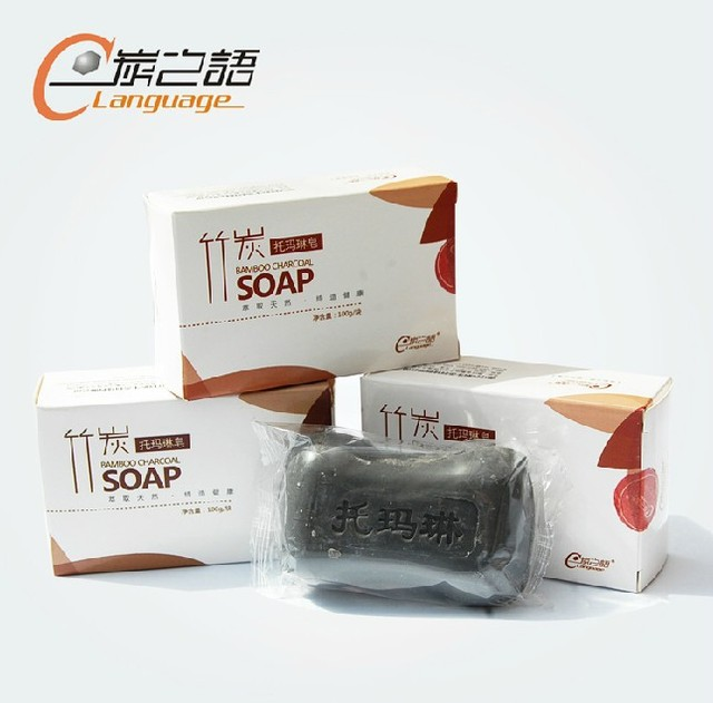 Tourmaline bamboo charcoal Soap for whitening clears toxins 100g/pcs Superfine