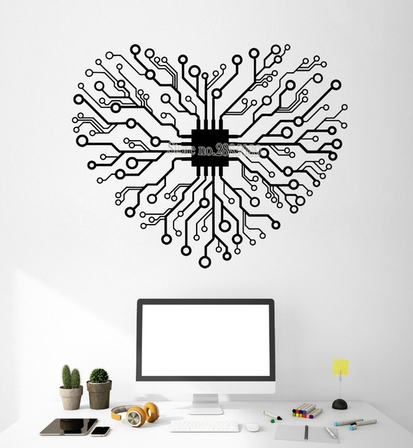 newest creative vinyl wall stickers chip heart living room home