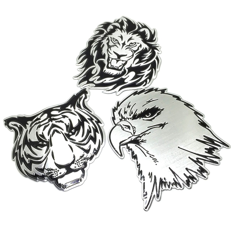 3D Aluminum Lion Eagle Tiger Logo Car Sticker Auto Motocross Motorcycle Emblem Badge Decals For Peugeot Citroen Renault Lada Kia(China)