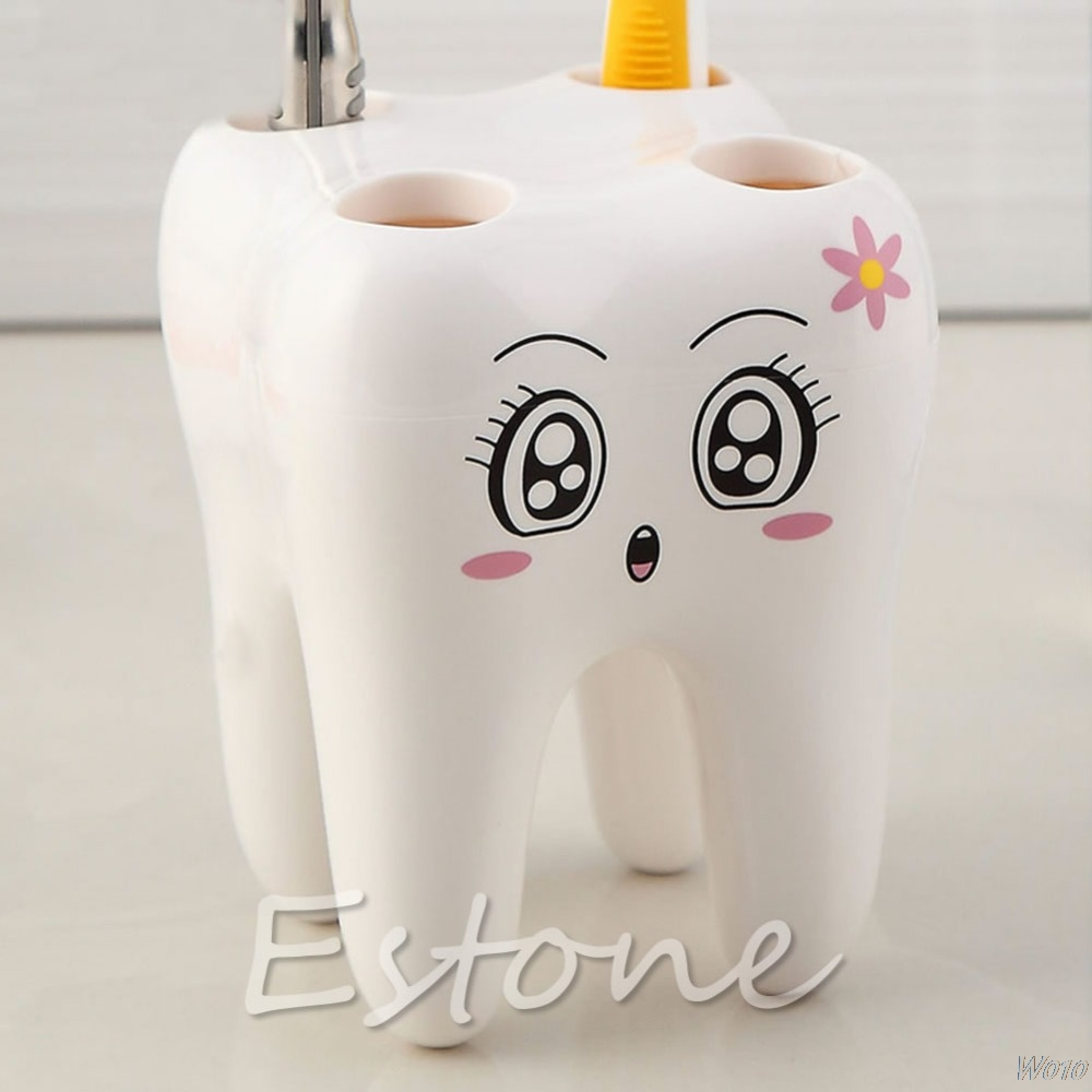2015 Newest Lovely Cute 4 Holes Cartoon Tooth Style Design Kid Bathroom Toothbrush Holder -W110 image