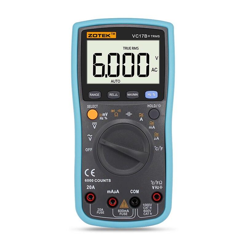 Vrai RMS Multimètre Numérique 6000 Points Auto/manuel gamme AC/DC Ampèremètre Voltmètre Ohm Capacité Température Diode testeur VC17B +
