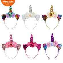 Paillette Unicorn Birthday Party Supplies Hairband for Children Decoration Theme Happy Favors
