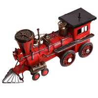Vintage Metal Steam Train Ornaments Home Decoration Classic Train Miniature Figurines Bar Cafe Shop Display Children Toy Gifts