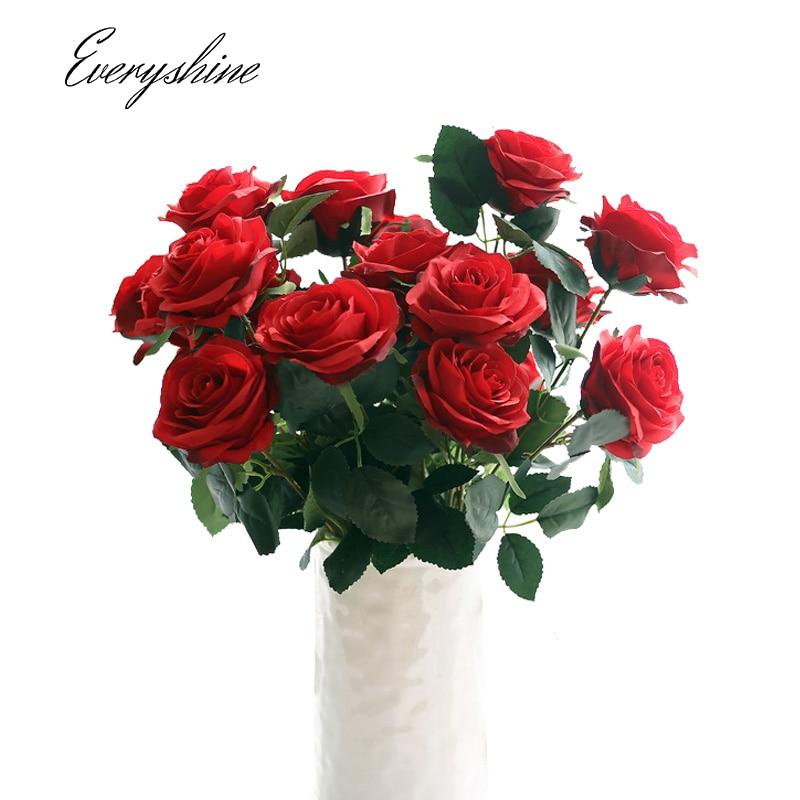 1 букет 10 цветочных головок искусственных роз шелк поддельные цветок свадебное платье невесты букет Домашний Декор Цветочная композиция jk435