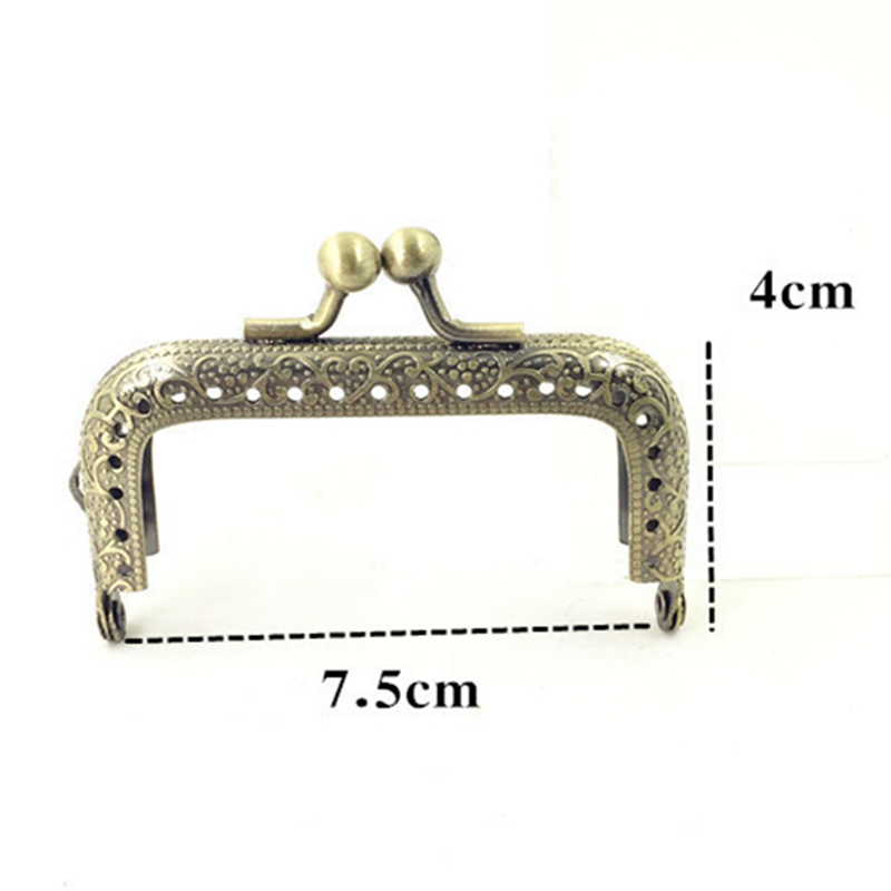10Pcs Bronze Tone Embossed Flower Rectangle Metal Frame Kiss Clasps Clutch Purse Bag Handbag Handle Accessories in Jewelry Findings Components from Jewelry Accessories