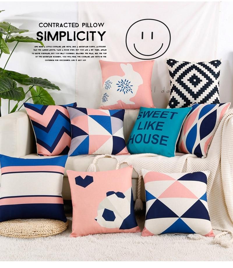 Nordic Sofa Pillow Cover Geometric Cushion Pink Decorative Pillows Black Blue Cotton Linen Cushions Cover Home Decor Pillowcase Cushion Cover Aliexpress