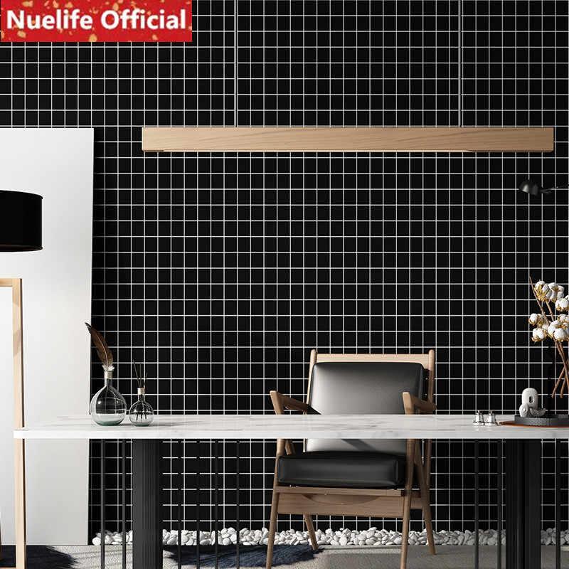 0 6x3m Self Adhesive Waterproof Black Small Plaid Wallpaper Office Bedroom Living Room Kitchen Shop Hotel Wall Sticker Aliexpress