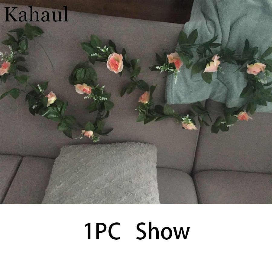 Künstliche Seide Rosen Blume Reben Dekorative Gefälschte Kunststoff Ivy Hängen Rose Garland Hochzeit Home Wand Dekoration Faux Pflanzen Blatt