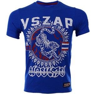 VSZAP Муай Тай ММА костюмы футболка мужская Спортивная Аэробика бег Одежда для бокса тренажерный зал Футболка синий ММА
