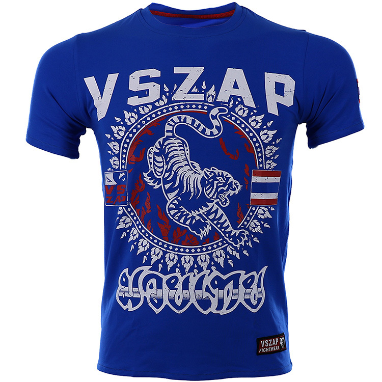 VSZAP Muay Thai MMA Suits Tee Shirt T-shirt Men Sports Aerobics Running Boxing Clothing Boxing Gym T Shirt Blue Mma