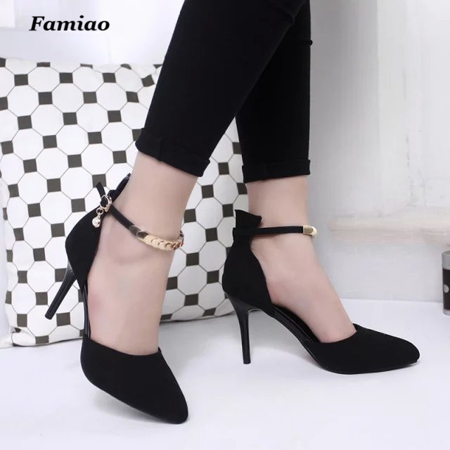 Luxury Sexy Pumps Brand Designer Metal Real Leather High Heel Shoes Ankle Strap Sandals Women Party Wedding Shoes