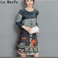 LA MAXPA Summer O Neck Printed Silk Chiffon A Line Casual Office Ladies Knee Length Dress