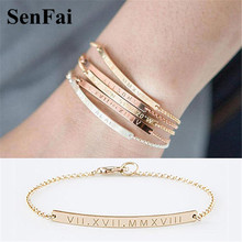 Senfai New Handmade Custom Name Bracelets for women men Roman Numeral zodiac Gold Rome Number Cute Cuff Bracelet Bangle Jewelry