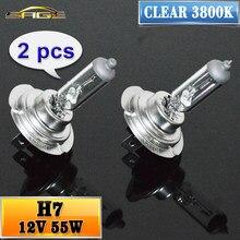 Hippcron h7 lâmpada de halogênio, 2 peças (1 par) claro 12 v 55 w 3800 k farol do carro lâmpada de vidro luz de halogênio