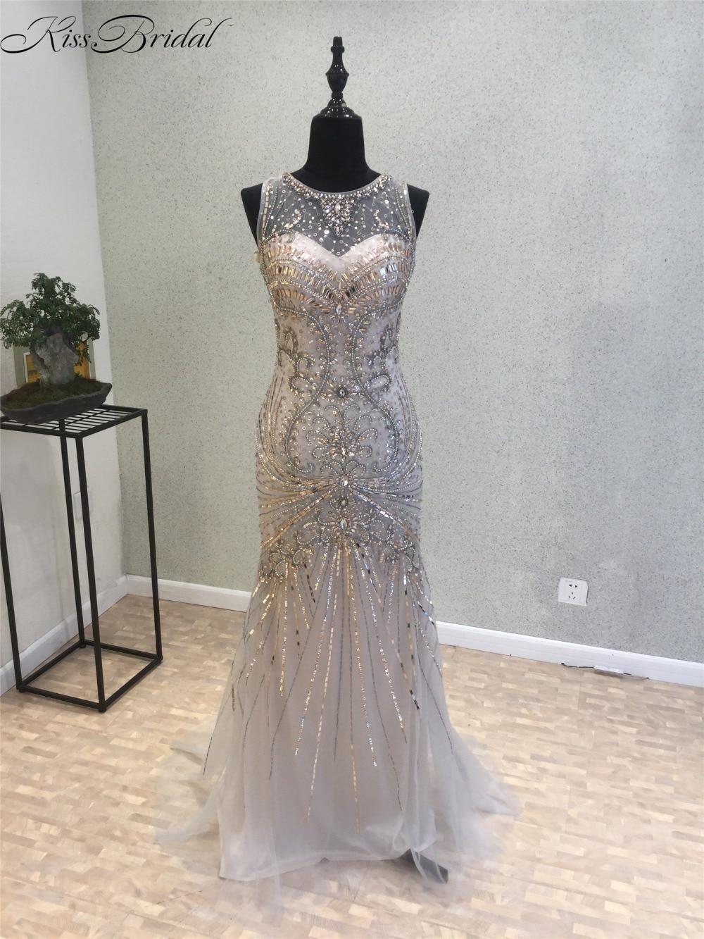 New Fashion Mermaid   Evening     Dress   2018 O-Neck Sleeveless Floor Length Sequins Beaded Tulle Prom   Dresses   Vestido longo de festa