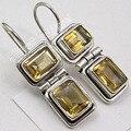 Silver Natural CITRINE 2 Gem WOMEN'S CUTE Earrings 2.9 CM NEW