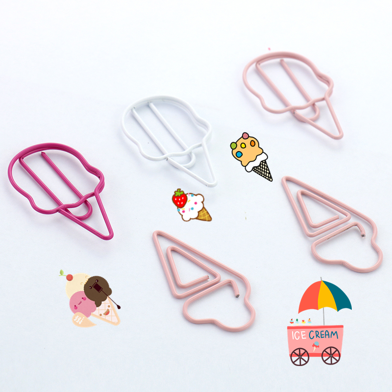 TUTU 6pcs Ice Cream Paper Clips Candy Color Funny Kawaii Bookmark Office School Stationery Marking Clips H0122