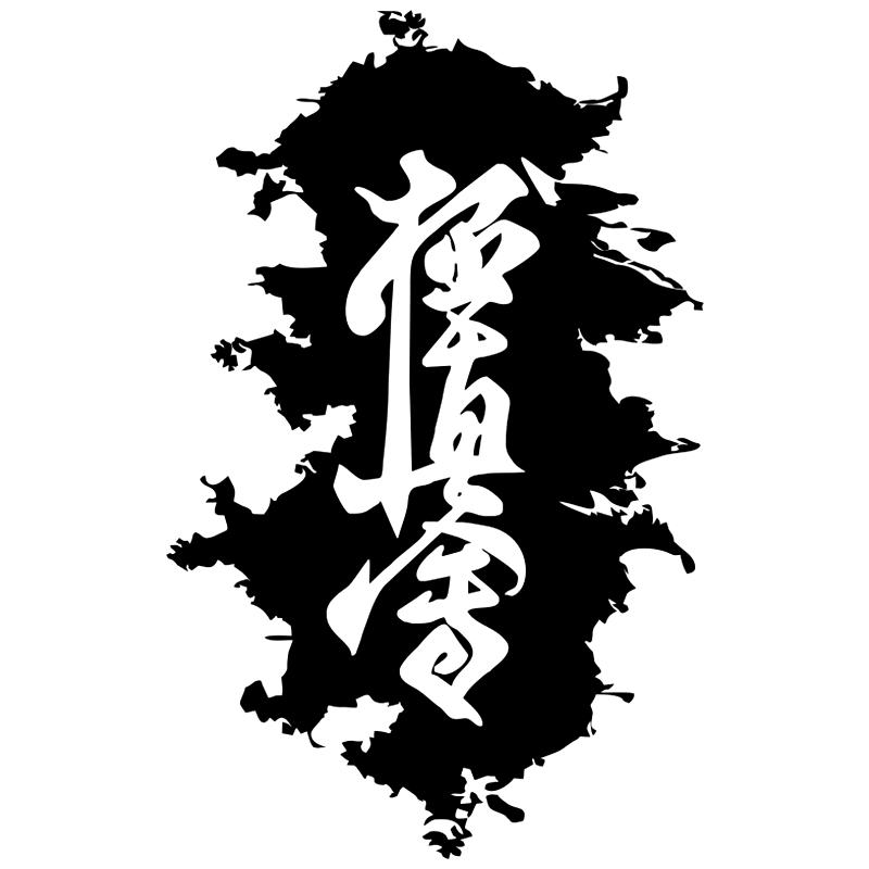 CS-653#19*12cm Hieroglyph Karate. Kyokushinkai funny car sticker vinyl decal silver/black for auto car stickers styling