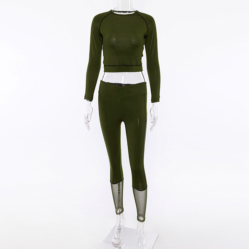 Long Sleeve Crop Tops Mesh Patchwork Elastic Leggings 2 Pieces Set 2018 Summer Autumn Women Fashion Sportswear Casual Sets (7)