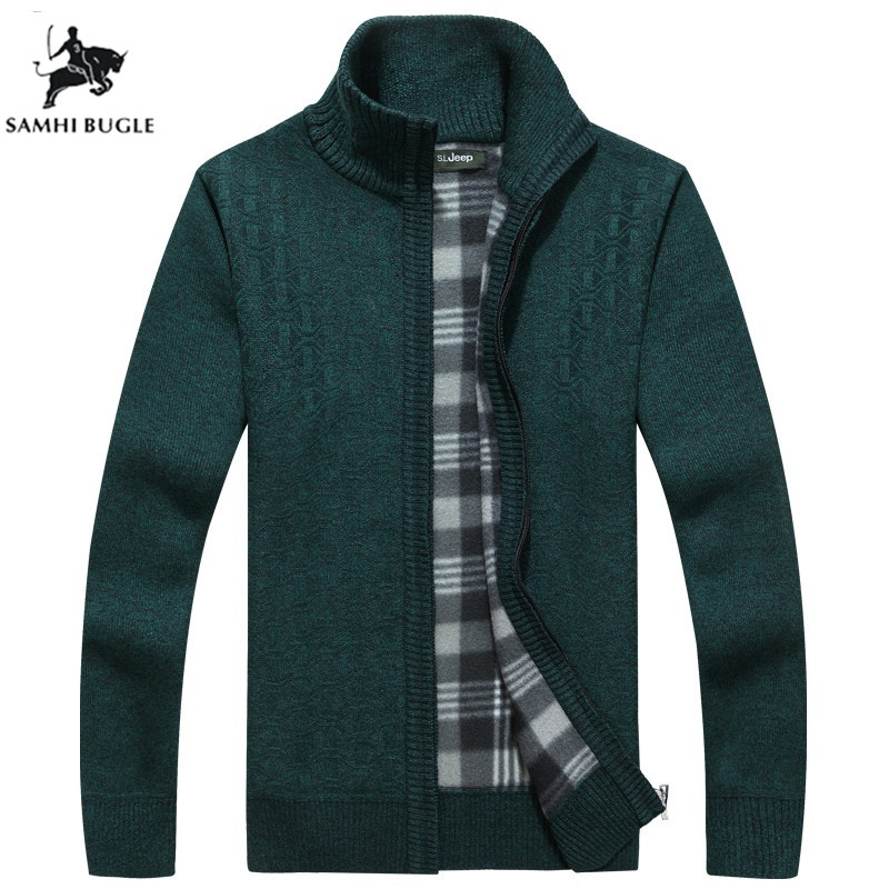 Men's Sweater 2019 Cashmere Thicker Sweater Men Fashion Sweater Chest Pocket Stand Collar Zipper Slim Jersey Man