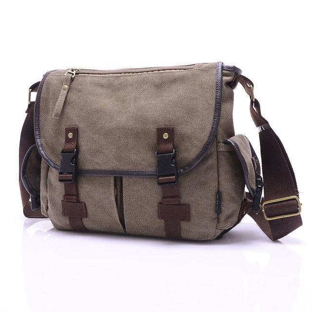 High Quality Canvas Bag Men's solid cover zipper casual shoulder school bags men crossbody bag Men Messenger Bags 3