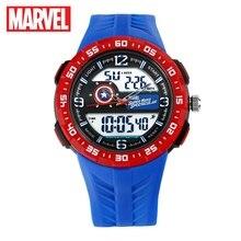 Marvel Avengers Captain America Supper Hero Teen Sport Multifunctional 5Bar Waterproof Watches Rubber LED Luminous Disney Clocks