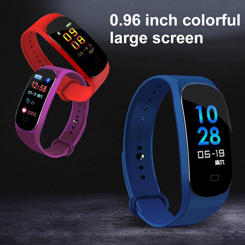Pulseira Esporte inteligente Padometer Tela Colorida Relógio Pressão Arterial Batimento Cardíaco IP67fitness Correr contador de Passos Pedômetro À Prova D' Água