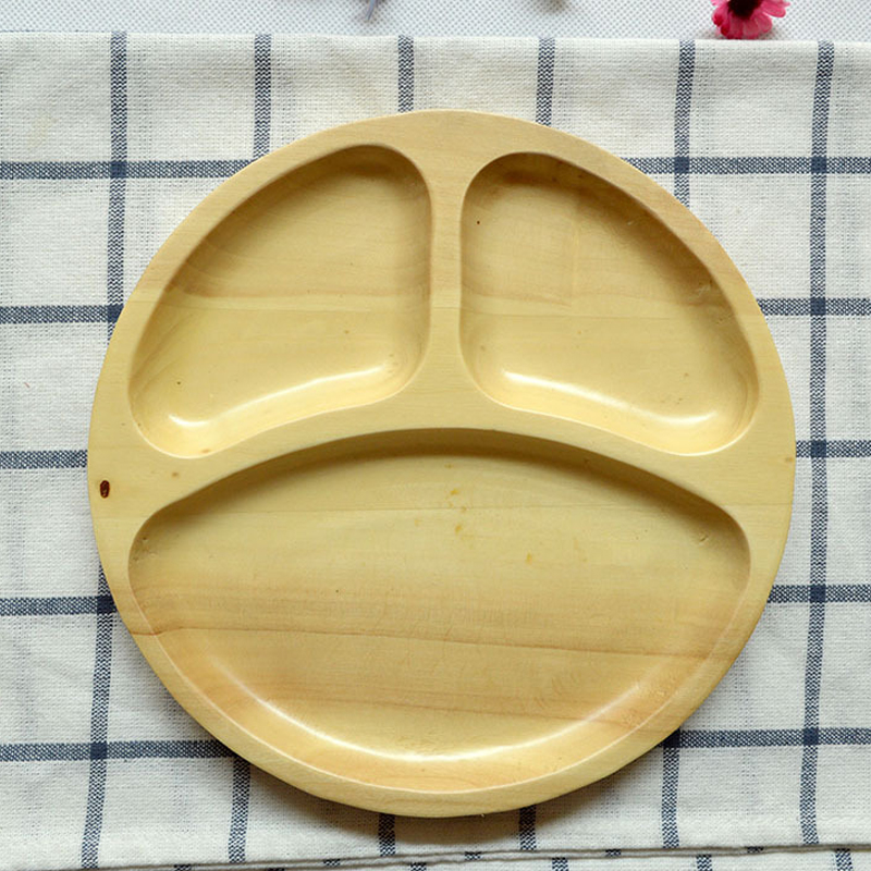 1 Pcs Creative Smiling Face Round Wooden Tray Wooden Cutlery Tray Solid Wood Plates for Dinner