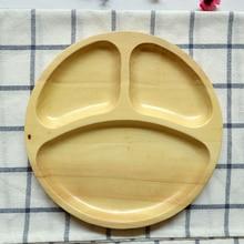 1 Stücke Kreative Lächelnde Runde Holztablett Holz Besteckkasten Massivholz Platten für Abendessen