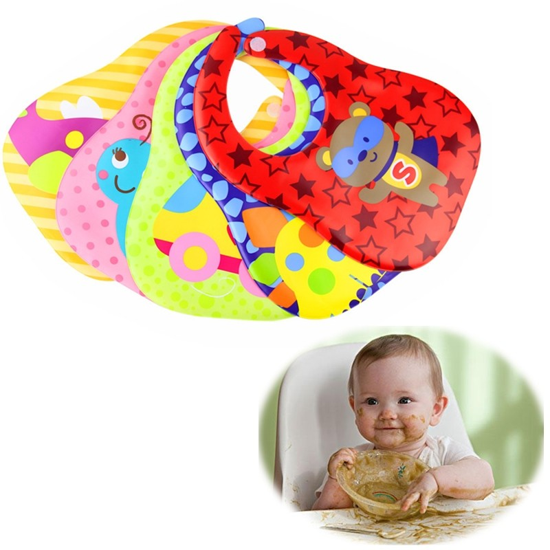 HOT SALE 5 Patterns Waterproof EVA Baby Feeding Bibs Adjustable Kids Non-toxic Saliva Towels Cartoon Printing Eating Supplies