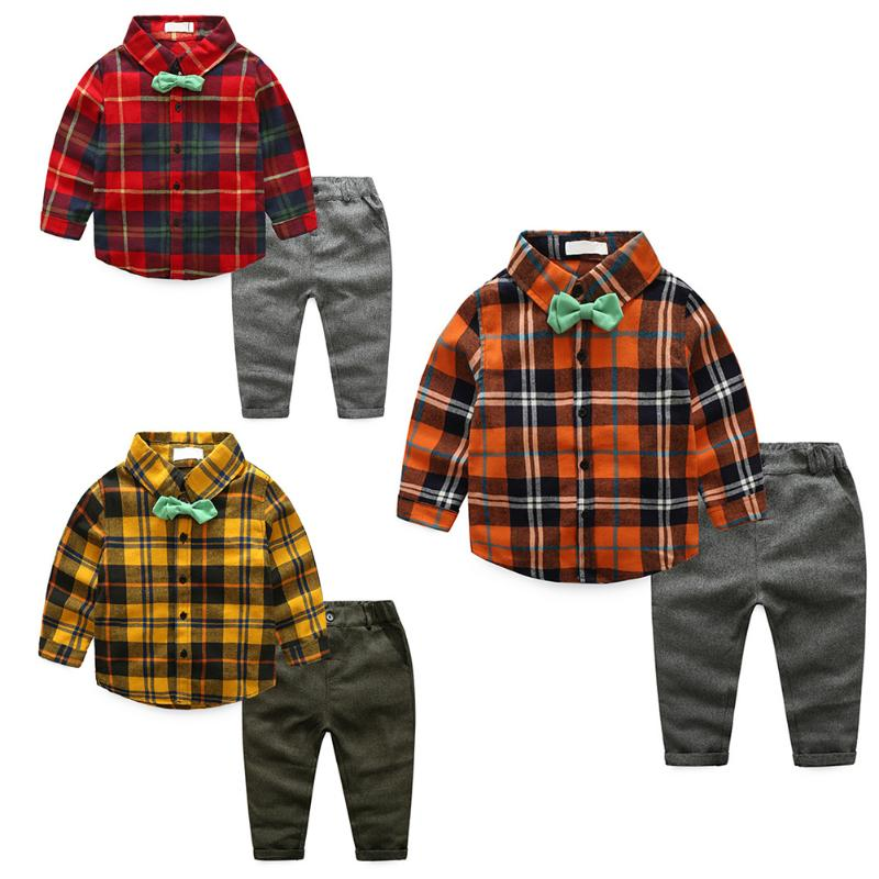 2pcs/Set Baby Boys Casual Gentlemen Clothes Set Autumn Winter Kids Plaid Shirt Tops + Loose Pants Clothing Outfit