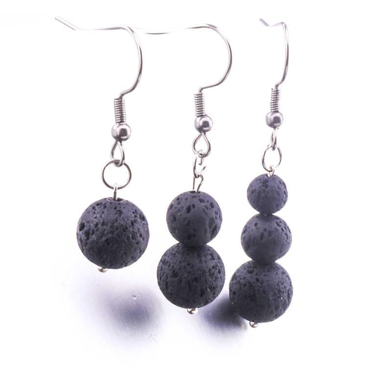 6mm 8mm 10mm lava pedra brincos colar diy aromaterapia difusor de óleo essencial balançar brincos jóias