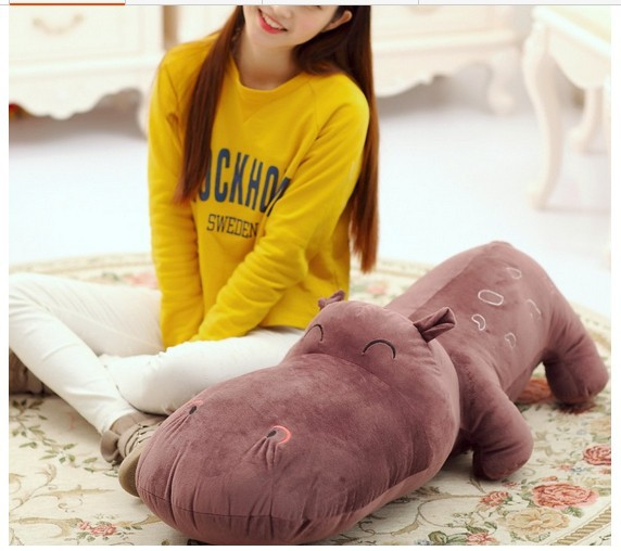 cute big  lovely hippo toy plush doll cartoon hippo doll gift toy about 120cm purple the huge lovely hippo toy plush doll cartoon hippo doll gift toy about 160cm purple