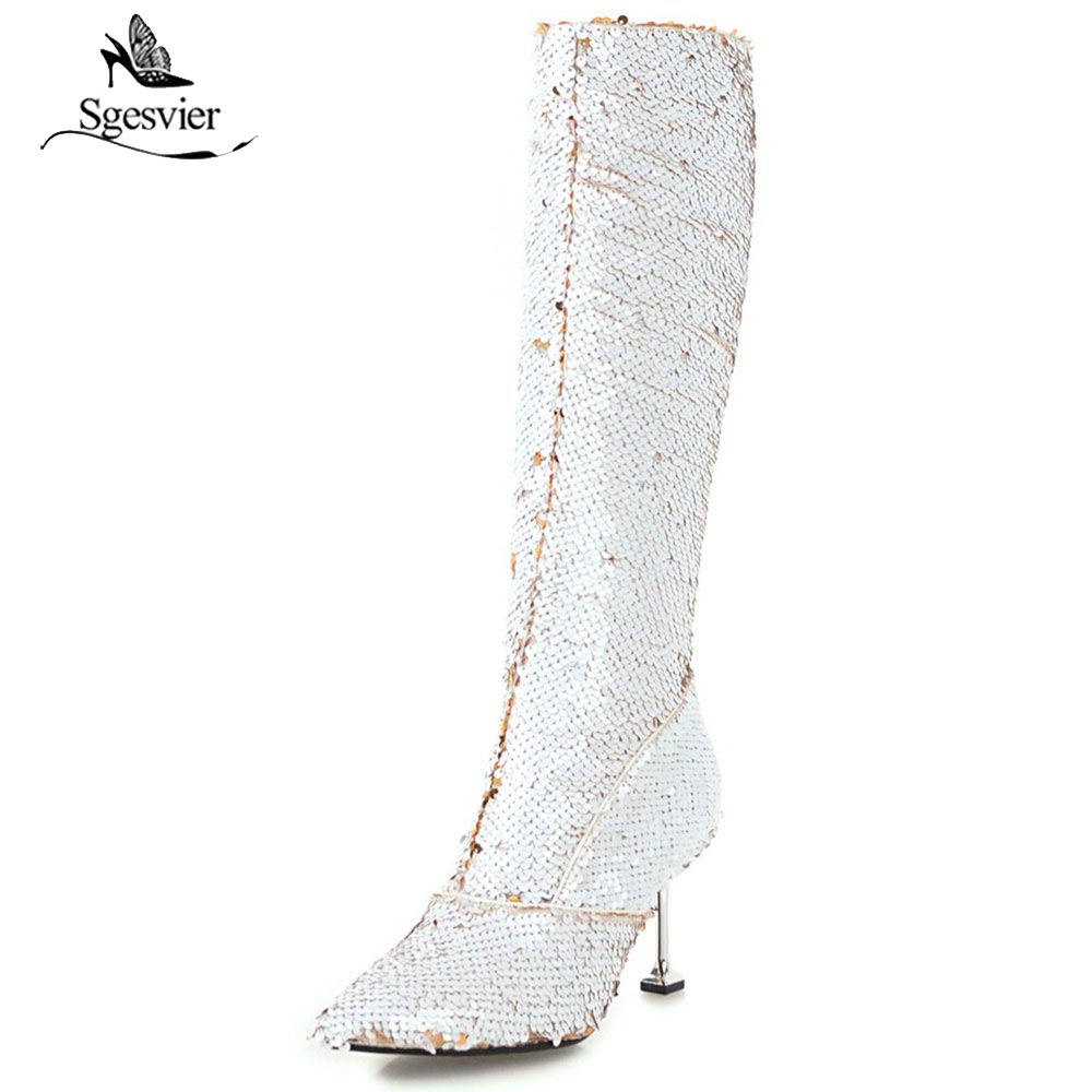 Sgesvier 2018 winter stilettos pointed toe knee high boots gold silver  glitter fashion boots bling bling women boots OX830 a150f97d96