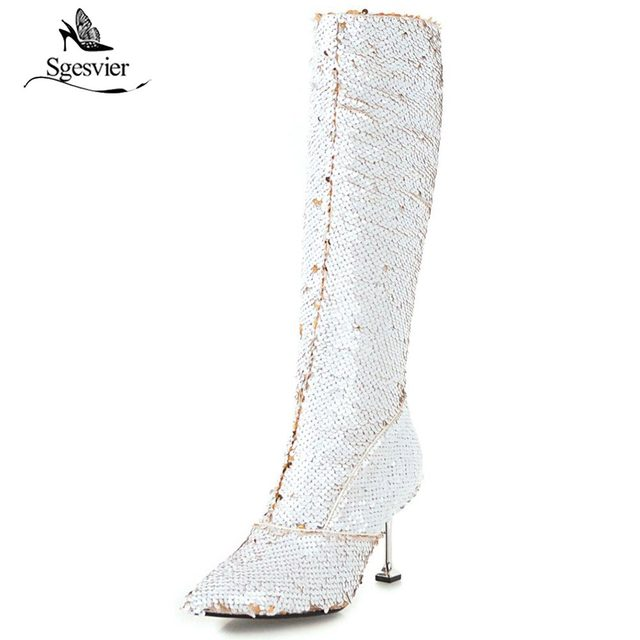 882a8e3fc64 Sgesvier 2018 winter stilettos pointed toe knee high boots gold silver  glitter fashion boots bling bling women boots OX830