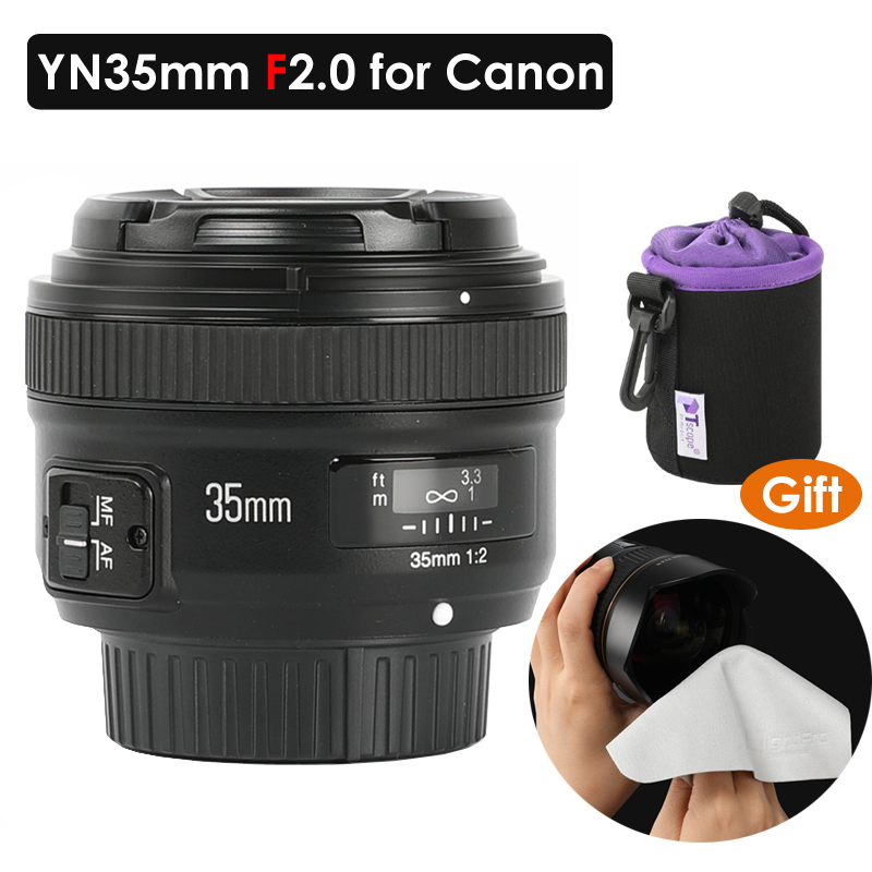 Yongnuo 35mm Lens YN35mm F2 lens Wide-angle Large Aperture Fixed Auto Focus Lens for Canon 5DIV 7DII 5DII 60D 650D Camera DSLR image