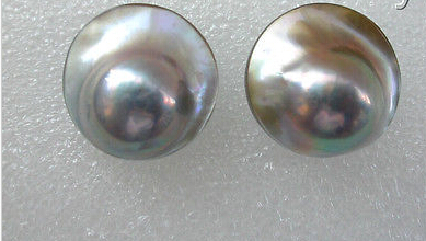 Ry00499 superbe grand 22mm rond gris mer du sud mabe perle boucles d'oreilles stud A0422