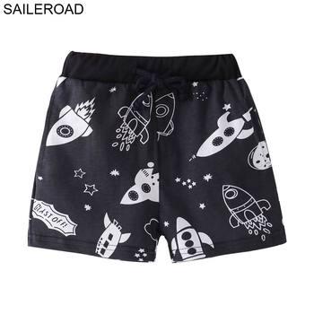 SAILEROAD Rocket druku dla dzieci krótkie letnie kąpielówki dla chłopca ubrania ze sznurkiem dziecko krótkie spodnie tanie i dobre opinie COTTON Proste Chłopcy NONE Do kolan Dobrze pasuje do rozmiaru wybierz swój normalny rozmiar Troczek W stylu rysunkowym